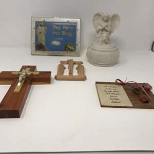 Lot # 142 - Beautiful Alabaster Urn & Religious Items
