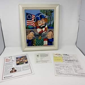 """Lot # 43 - Signed """"Independence Day"""" Porcelain Plaque Artwork by Red Skelton"""