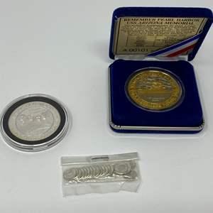 Lot # 46 - Mini 1878 Morgan Silver Dollars, Sturgis South Dakota .999 Silver Coin, 24k Gold Plated .999 Silver Pearl Harbor Coin