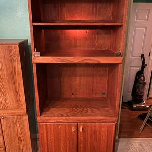 Lot # 200 - Solid Oak Lighted Cabinet