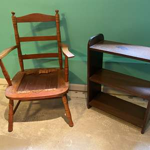 Lot # 213 - Vintage Armchair & Small Shelf