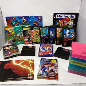 Lot # 222 - Vintage Nintendo Games, Boxes, Cases, Calendar, Folder & Poster
