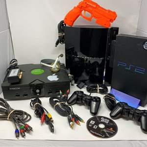 Lot # 228 - Original Xbox, PlayStation 2, PlayStation 3, Guitar Hero w/ Guitar - (Guitar is not in main photo)