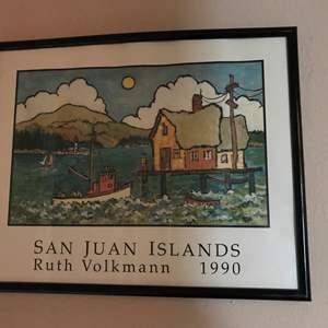 "Lot # 278 - San Juan Islands Print by Ruth Volkmann 1990 - (16"" x 20"")"
