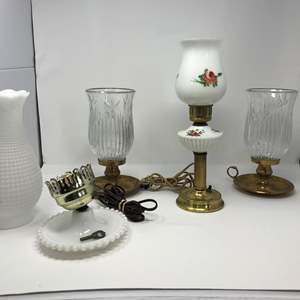 Lot # 281 - Cute Hand Painted Vintage Lamp, Milk Glass Lamp Parts, 2 Heavy Glass/Solid Brass Candle Holders