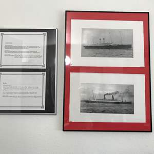 Lot # 286 - Framed Baltic & Carmania Ship Pictures w/ Certificates