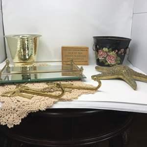 Lot # 289 - Brass Starfish, Hooks, Brass Mirrored Vanity Tray, Brass Looking Pot & More