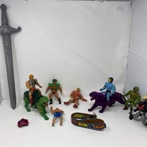Lot # 240 - Vintage He-Man Action Figures & Like New He-Man Belt