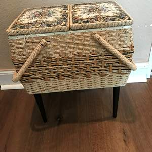 Lot # 189 - Nice VTG Sewing Stool w/Notions