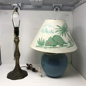 Lot # 192 - Lamp For Childs Room & Heavy Brass Lamp