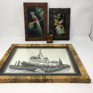 Lot # 194 - Prints From Mexico, Small Spanish Box & Boat Artwork Singed Don Morrow