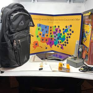 Lot # 195 - New High Seirra Backpack, State Quarters Collectors Map & VTG GSS Blister Microscope