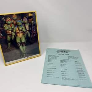 Lot # 296 - Awesome Teenage Mutant Ninja Turtles 3 Crew List & Framed Photo