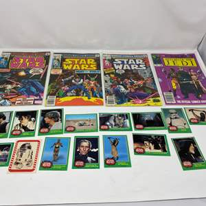 Lot # 309 - Four Vintage Marvel Star Wars Comic Books & Star Wars Cards - (Great Condition)