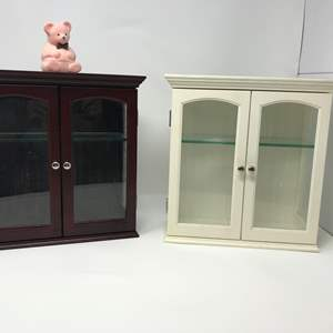 Lot # 359- 2 Cute Wood Curio Boxes & Pair Of Earrings
