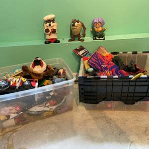 Lot # 313 - Two Bins Full of Vintage Toys