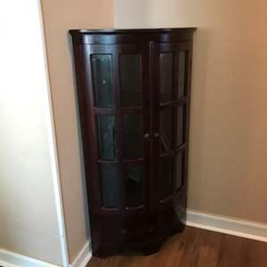 Lot # 365 - Antique Curio Corner Cabinet w/3 Shelves