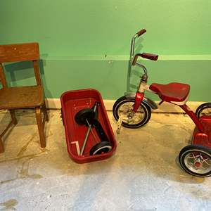 Lot # 324 - Vintage RoadMaster Metal Tricycle, Radio Flyer Wagon & Child Size Chair