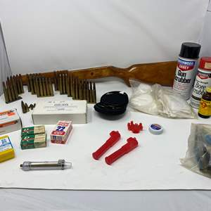 Lot # 331 - Firearm Ammunition, Cleaning Supplies & Rifle Stock - (See Photos for Ammo Size)