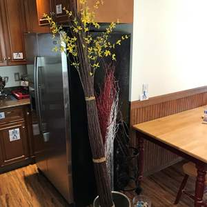 Lot # 373 - Large Vase w/ Faux Tree Branches & Vase Full of Marbles & Rocks