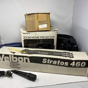 Lot # 348 - Velbon Stratos 460 Camera Tripod, Tasco Binoculars, 350 Watt Power Supply, Keystone Movie Projector & More