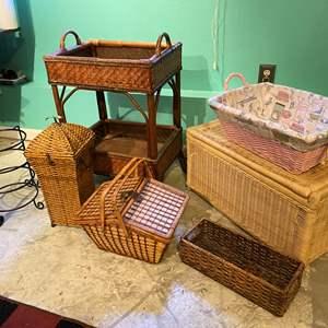 Lot # 382 - Wicker Storage Chest, Wicker Stand, Baskets & More