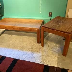 Lot # 383 - Oak Coffee Table & Side Table
