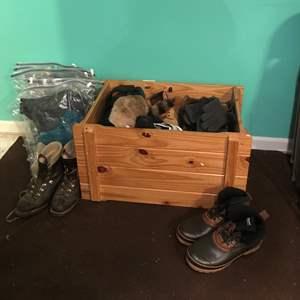 Lot # 378 - Large Wood Shoe Bin w/Mens Boots & Clothes