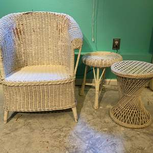 Lot # 384 - White Wicker Chair, Side Table & Stool