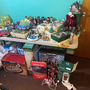 Lot # 393 - Huge Christmas Lot: Minatare People & Houses, New Vintage Bubble Lights, Kirkland Displays, Ornaments & Much More!!