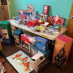 Lot # 394 - Christmas Lot: 3 ft. Fiberoptic Tree, Porcelain Figurines, Large Santa, & More
