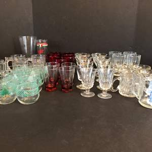 Lot # 64 - Awesome Red Toned Small Martini Glasses, Christmas Cups, McDonald's Collector Mugs & More Misc. Stemware