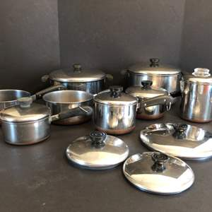 Lot # 65 - Large Selection of Revere Ware Pots & Awesome Kettle
