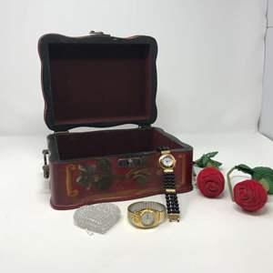 Lot # 105 - 2 Nice Women's Watches: Details & Gruen, 2 Rose Ring Holders & Nice Keepsake Box