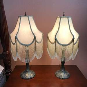"""Lot # 128 - 2 Victorian Style Lamps - 25.5"""" Tall"""