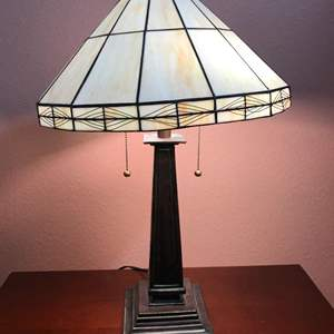 """Lot # 129 - Heavy American Lighting Tiffany Style Lamp - About 27"""""""