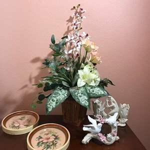 Lot # 133 - 2 Vintage Floral Prints by Georgia B. Caldwell, Faux Flower Arrangement, 1 Bird Statue & 1 Vintage Vase
