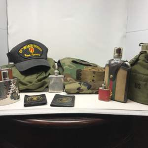Lot # 147 - Army Pants, Duffle Bag, Belt, Flasks & More