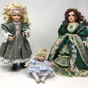Lot # 155 - Three Porcelain Dolls - (See Pictures)