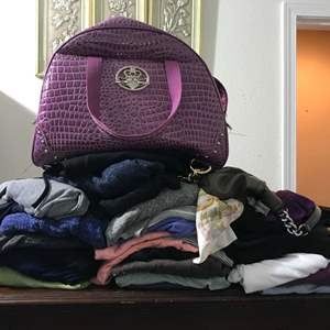 Lot # 253 - Small Lot of Woman's Clothing, Overnight Bag & Purses.