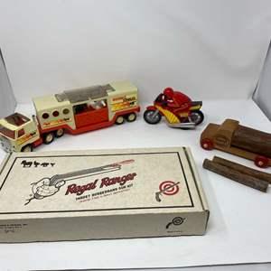 Lot # 305 - Vintage Metal Buddy-L Stables Truck & Trailer, Buddy-L Blazin Biker, Vintage Regal Ranger Rubber Band Gun Kit