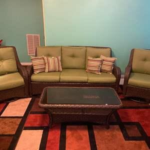 Lot # 386 - Very Nice SunBrella Wicker Patio Set with 2-swiveling/Rocking Armchairs.