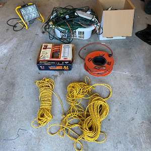 Lot # 401 - Collection of Extension Cords, Power Strips, & Rope