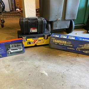 Lot # 402 - Tile Cutter, Emergency Car Kit, Two Toolboxes w/ Tools