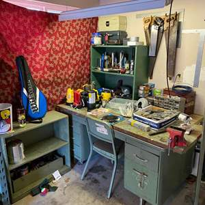 Lot # 403 - Desk/Workbench Filled w/ Flashlights, Tools, Hardware & More - (See Pictures)