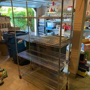 """Lot # 409 - Heavy Duty Metal Rolling """"NSF"""" Storage Rack"""