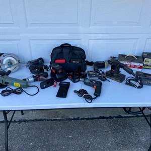 Lot # 411 - Power Tools: Craftsman Cordless Drill, Circular Saw, Rotozip, Battery Chargers & More