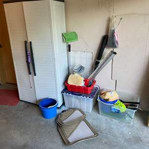 Lot # 413 - Cabinet Full of Car Cleaning Supplies & More - (Cabinet Included)