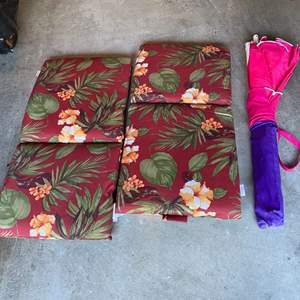 Lot # 415 - Two Patio Cushions & Umbrella