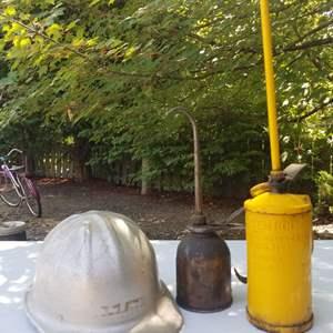 Lot # 64 Vintage Hardhat & Oil Can